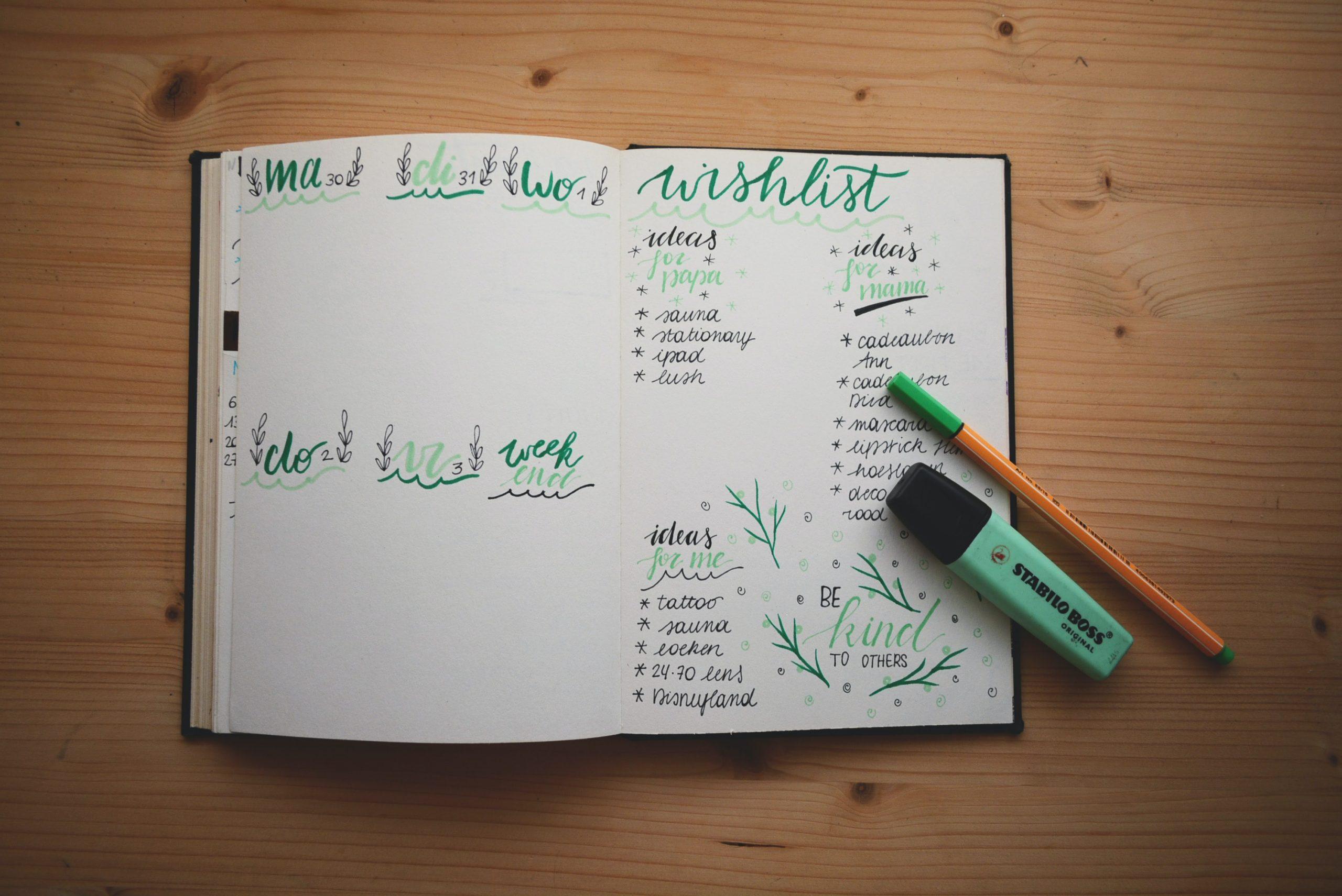 Beispiel für ein Bullet Journal